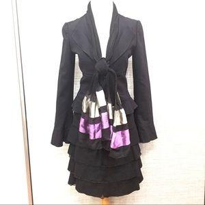 EMPORIO ARMANI Black Wool Suit & Scarf Sz 38/40